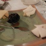 Trio of artisan cheeses with hosue-made cherry chutney