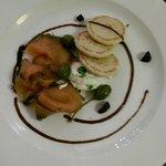 Starter - Salmon Gravadlax, baby beets, horseradish creme fraiche