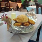 novel chicken in a basket at Relax street restaurant