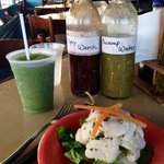 Frozen mojito, grouper ceviche and housemade hot sauces
