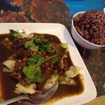 Stir frye beef with brown rice
