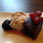 Salted caramel ice cream and chocolate cake