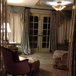 The sitting area in our suite complete with beautiful opening French doors