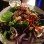 Well arrayed chicken salad