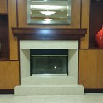 Nice fireplace/mantel in the Lobby