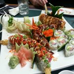 From top to bottom, left to right: Cucumber salad roll, Red Dragon, Spicy Crunch, Yammay, Philly