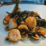 Scallops with black linguine