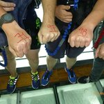 glass viewing platform to look at water, bungy jumpers will understand the fists. hands.