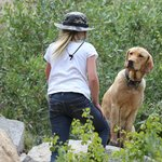 Kayla hiking with Ken and Shale Ann's dog!