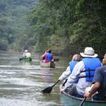 On the tranquil canoe trip down the Macal River