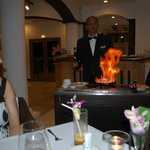 Head waiter only warmed up during his party piece. Shame