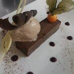 Ovaltine kulfi with white chocolate ice-cream and chocolate tuille