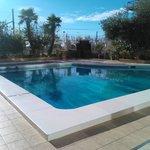 Limited poolside area