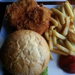 deep fried chicken sandwich & yummy fries hot and fresh