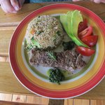Tenderloin steak, vegetable rice, salad--wanted to lick the plate