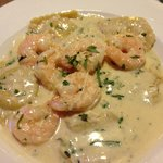 Tarragon shrimp with garlic ravioli.