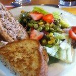 Tuna sandwich with a side salad
