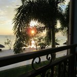 Sunset from our balcony, through a Foxtail Palm
