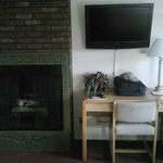 Fireplace, TV and work desk