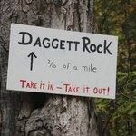 Sign for Dagget Rock on the road