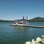 The paddlewheel boat on the lake
