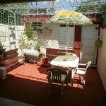 The backyard, or terrace.
