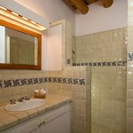 Talavera tiled bathrooms/second full bath with walk-in shower