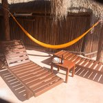 Private terrace with beds and hammock