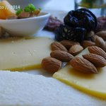 Cheeses and almonds to start my meal.