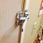 Security latch broken. This was as far as it would close and didn't catch when door was opened