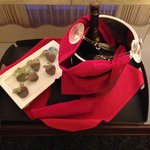 Champagne and Chocolate Covered Strawberries - sent up to our room