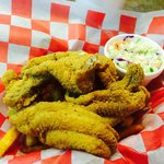 Catfish,fries, slaw and hushpuppies