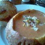 Corn and Crab Chowder in a Sourdough Bowl