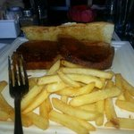 meatloaf sandwich with parmesan fries