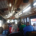 In side the 'Old City Trolly Tour' bus