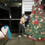 era mes de  navidad y ahi salgo en su gran arbol