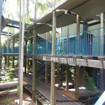 Cabins are beautiful..and walkways take you to hotel foyer, and beach