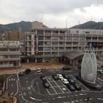 View of yonago train and bus station from our window
