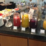 Variety of fruit juices at breakfast