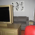 TV in sitting area.