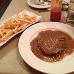 The best hamburger steak!  This one is minus the onions lol