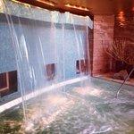 outdoor waterfall hot tub