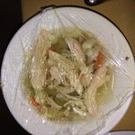 3 chicken chunk soup.. No noodles but something white had blue spots?