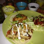 Three taco plate and 3 sides + orange mojito