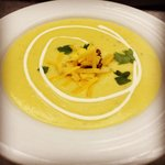 Roasted potatoe and chive soup with creme fraiche