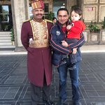 Me and my Son with Hotel Door man
