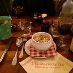 Soup with wine and snail