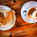 Hot, fresh croissants and a classic cup of Kilimanjaro