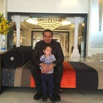 Me and my Son in the Hotel Lobby.