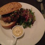 """""""Lairesseburger"""" with minced veal & prawns.  Nice!"""